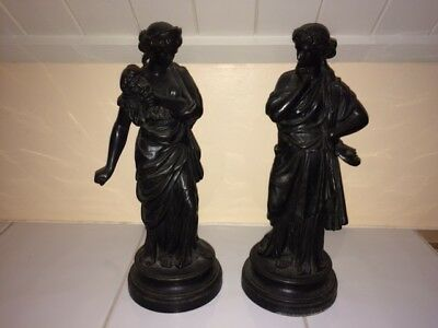 Cast Spelter late Victorian Comedy and Tragedy greek figures