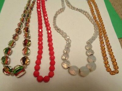 Vintage LOT OF 4 Rainbow Glass  Glass & Crystal Beaded Necklaces Clasps Repair