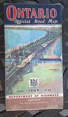 1959 ONTARIO Province-issued Vintage Road Map / Great Cover Graphics