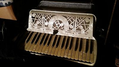 Vint EXCELSIOR ACCORDION Mother Pearl Celluloid ITALY US PATENT Musical Notes NR