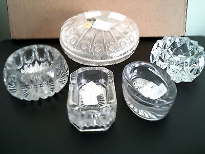 Five  trinket dishes or salts made in glass