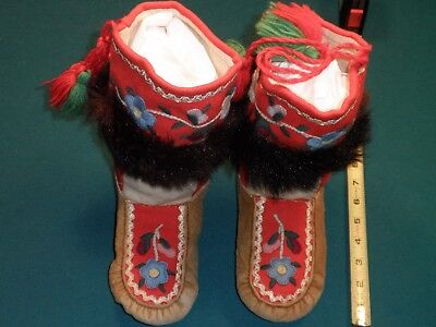 Embroidered high top moccasins 1930's