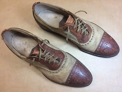 Vtg 30S 40S Mens Two Tone Brown White Leather WING Tip Shoes 9 NEEDS HELP