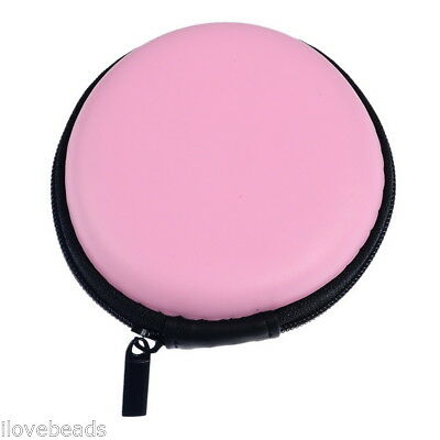 Circular Pink Pocket Collection Hard Case Earphone Headphone Storage Case Bag