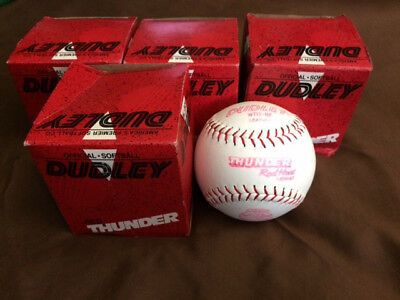 Lot of 5 New Old Stock Dudley Red Thunder WT12-RF Softballs in original boxes