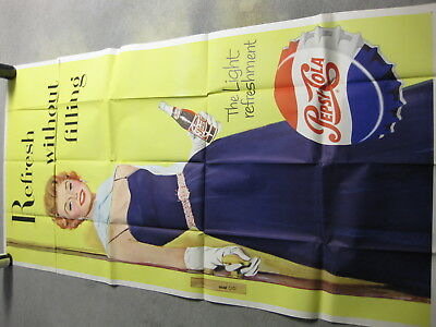 Huge 1950's Vintage Pepsi-Cola Refresh Without Filling Advertising Poster