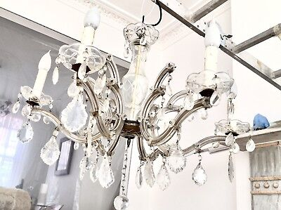 Chandelier, Crystal Glass Pendant Antique