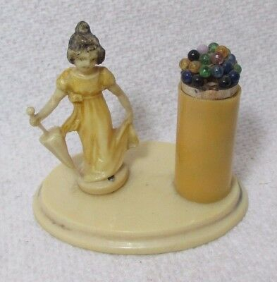 Antique celluloid LADY with PARASOL PIN Holder~  c1900's