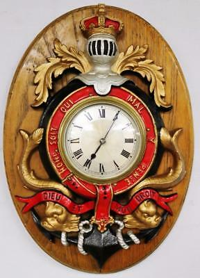 Smiths Coat Of Arms Wall Clock - Unusual Carved Mounted Plaque Wall Clock C1940