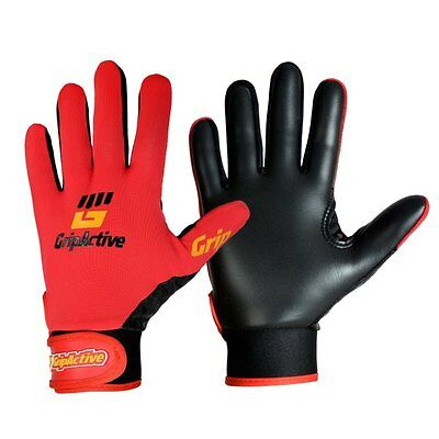 Grip Active Premium Quality Gaelic Football Gloves - Red - Adult