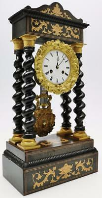 French Rosewood Portico 8 Day Mantel Clock Barley Twist Columns Satinwood Inlay