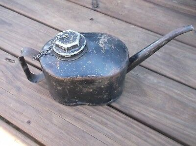 Vintage Oval Eagle Long Spouted Screw Top Oil Can Railroad Industrial Lubricate