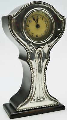 English Hallmarked Silver Art Nouveau Mantle Desk Clock Good Tulip Shaped Clock