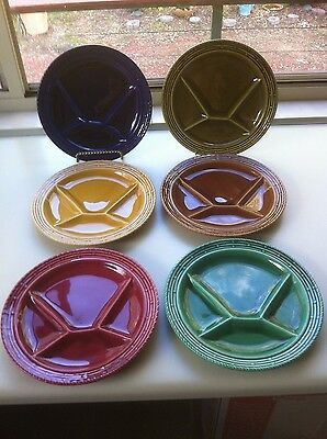 Set of 6 Vintage French Sarreguemines Pottery divider, fondue plates.Mid Century