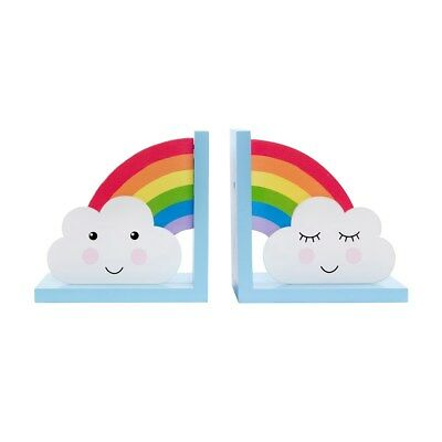 Day Dreams Decorative Bookends - Clouds and Rainbows - Childrens / Kids Room