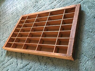 Vtg Printers Wooden Drawer Letterpress Type Case Wood Tray ~~35 Sections