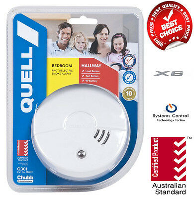 6 x Quell Smoke Detectors includes 9v Batteries And Mounting Kits (New) + BONUS