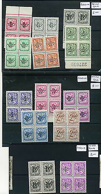 Belgium 3xGum varieties (shiny, matt & Blue) in 19 x blocks of 4. Unmounted.