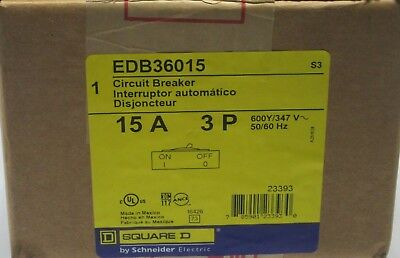 Square D EDB36015 Circuit Breaker 3 pole 15A 600Y/317VAC 50/60HZ - New in Box