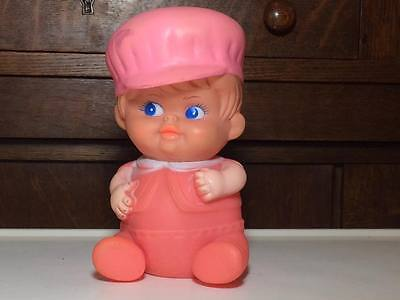 Vintage pink baby boy squeaky toy un marked