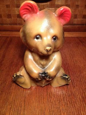Vintage Hard Plastic Grizzley Bear Coin Bank