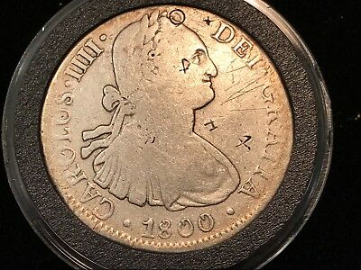 T2: World Coin Mexico 1800 Mo 8 Reales w/ Chop Marks