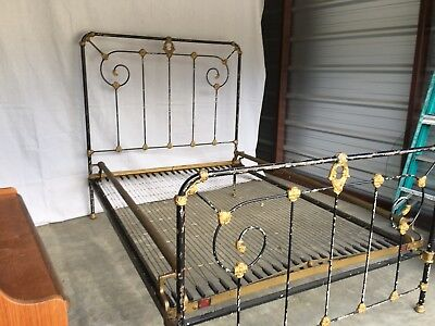 Antique Iron Bed Full Vintage  Shabby Chic Original Black Victorian Farmhouse