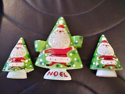 Rare 1959 Vintage Napco Christmas Santa Noel Bell Shakers Candle Holder Set