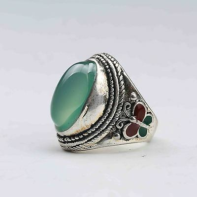 Chinese Exquisite Tibet Silver Inlaid Green Jade Handwork National Fashion Ring