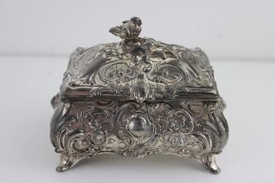 WMF Silver Plated Jewellery Casket Surmounted With Bird & Egg Nest Finial c1900