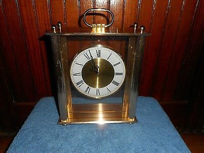 Seiko Quartz Model Qqz103G Mantel Clock Gold Metal Greek Revival Columns Works