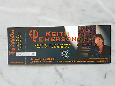 unused Keith Emerson (ex-ELP) concert ticket 2006 Budapest show