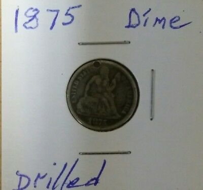 """1875 Seated Liberty Dime-Drilled And Engraved With Initials """"e.m."""""""