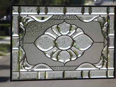 """• PURITY • Clear Beveled Stained Glass Window Panel • 28 ½""""x17 ½"""" (72x44.5cm)"""