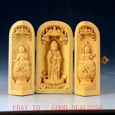 Chinese Boxwood Highly Difficulty Carved Three Gods Floding Box FK04
