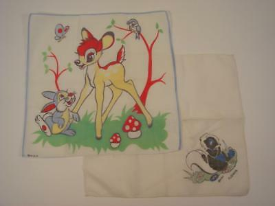 Lot Of 2 Vintage Child's Hankies Bambi Thumper & Flower Walt Disney Productions