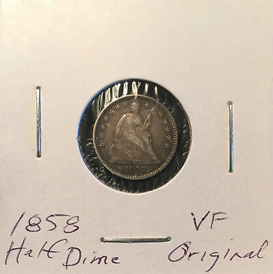 1858 Seated Liberty Half Dime ~ VF ~ Nicely Detailed Original Coin