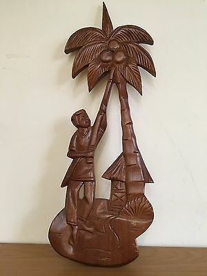 VINTAGE WOOD CARVED TROPICAL WALL HANGING Mid Century Kitsch Wooden Folk Art