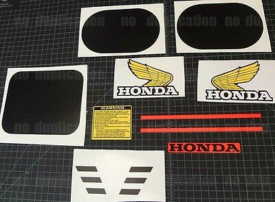 QR50 honda 10pc Black Decal Set MX vintage Motorcycle Sticker Graphics