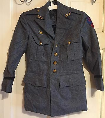 Vintage Carson Long Institute Military (CLI) ROTC Gray Wool Uniform Jacket~S~EXC