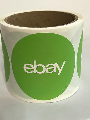 eBay Branded Stickers 3 x 3 Round Green Dot 1 Roll of 100