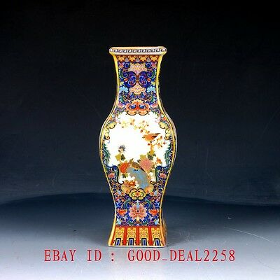 Vintage  Cloisonne  porcelain  hand-painted Court style vase With Yongzheng Mark