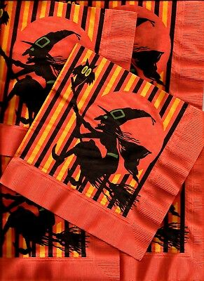 13 VINTAGE 1950's HALLOWEEN Witch flying on broom with Owl Paper Party Napkin
