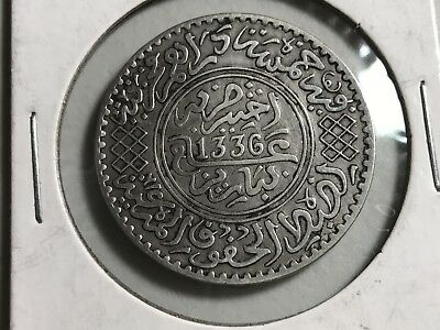 AH1336 Pa Morocco 1/2 Rial 5 Dirhams silver world foreign coin great condition