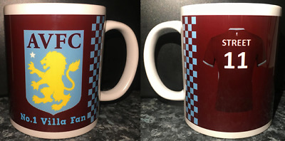 PERSONALISED Aston Villa Mug Add your own name to shirt -Christmas/Birthday Gift