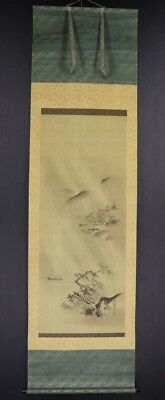 """JAPANESE HANGING SCROLL ART Painting """"Kano School"""" Scenery Asian antique  #E8012"""