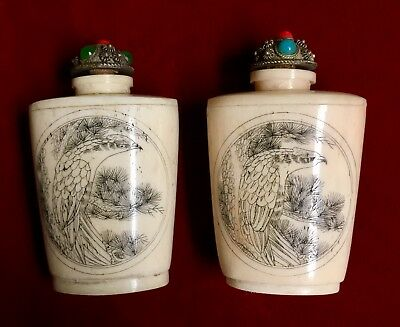 Pair Of Hidden Erotica Scrimshaw On Bone Chinese Snuff Bottles With Jeweled Lids
