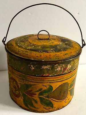 Circa 1840's Painted Signed Toleware Oval Tin With Cover Handle Fruits Colorful