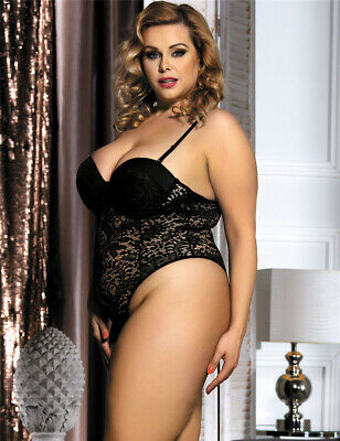 Push up Crochet Lace Teddy - Black - Plus Size 14 to 20