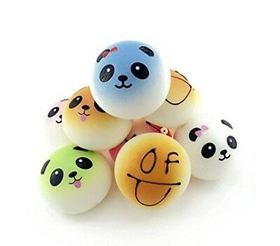 Squishy 4Pcs Random Smiling Face Round SoftKawaii Bread Smell Charms Cellphon